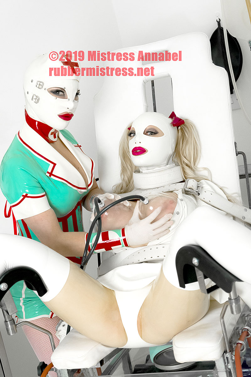 Mistress Annabel with Latex Lucy at London Rubber Clinic. rubbermistress.net
